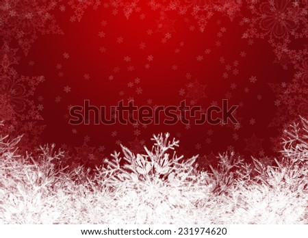 red and white snowy abstract winter background with snowflakes - stock photo