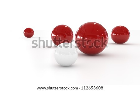 Red and White Sphere - Isolated on White Background
