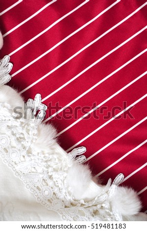Red and white stripe for copyspace with white scarf on background