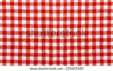 Red and white table cloth close up suitable for background use - stock photo