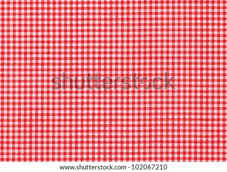Red and white tablecloth picnic texture background - stock photo