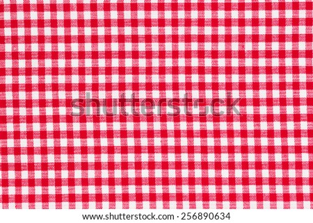 Red and white tablecloth, texture background, top view  - stock photo