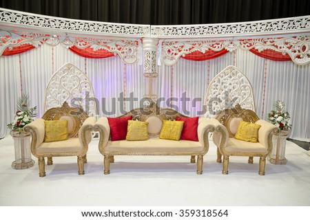 red and white themed wedding stage - stock photo