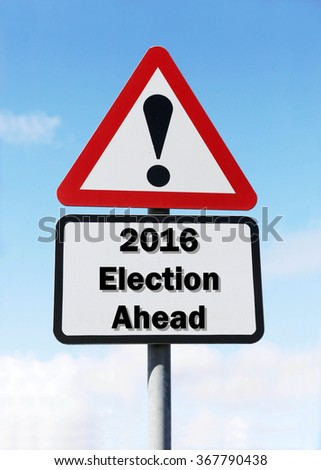 Red and white triangular road sign with a 2016 Election Ahead concept against a partly cloudy sky background - stock photo