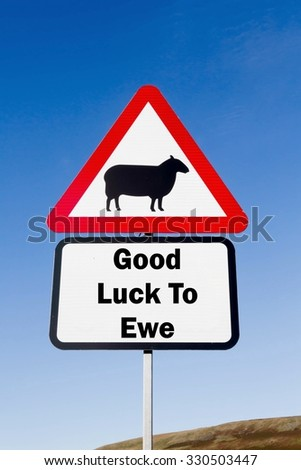 Red and white triangular road sign with a Good Luck To Ewe play on words concept against a partly cloudy sky background