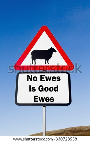 Red and white triangular road sign with a No Ewes Is Good Ewes play on words concept against a partly cloudy sky background