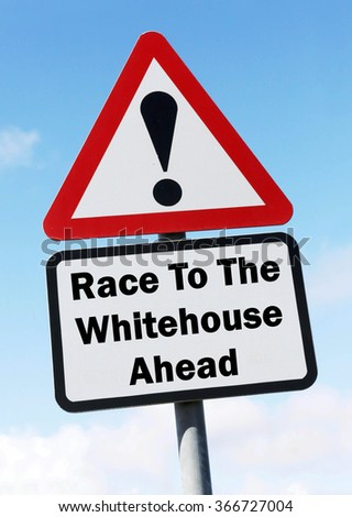 Red and white triangular road sign with a Race To The White House Ahead concept against a partly cloudy sky background - stock photo
