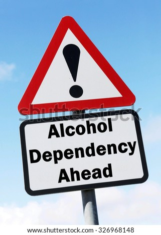 Red and white triangular road sign with warning of Alcohol Dependency Ahead concept against a partly cloudy sky background