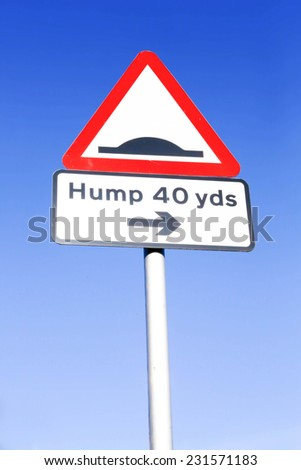 Red and white triangular warning road sign with a warning of a bumpy road ahead concept against a clear blue sky background
