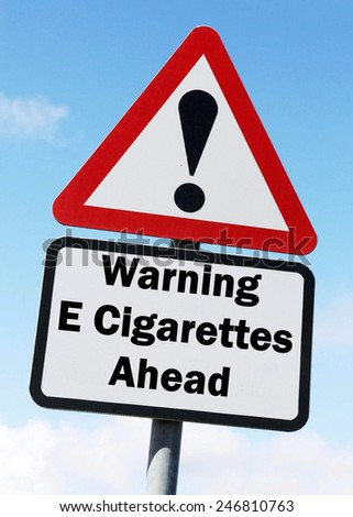 Red and white triangular warning road sign with a warning of E Cigarettes ahead concept against a partly cloudy sky background