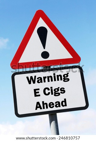 Red and white triangular warning road sign with a warning of E Cigs ahead concept against a partly cloudy sky background
