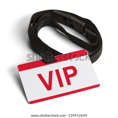 Red and White VIP ID Card Isolated on White Background. - stock photo