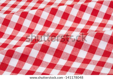 Red and white wavy tablecloth texture background, high detailed  - stock photo