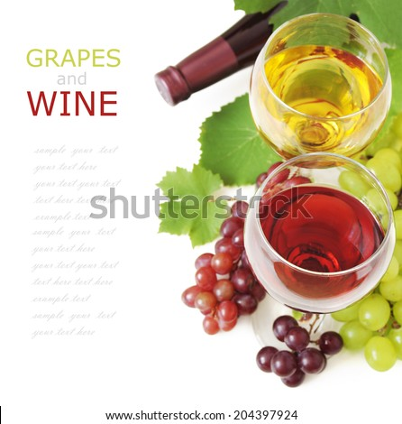 Red and white wine and grapes with fresh leaves isolated on white background with sample text - stock photo