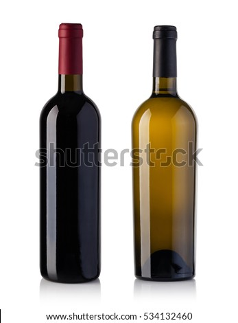 red and white wine bottle isolated over white background