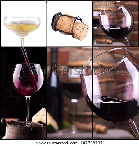 red and white wine, champagne collage with barrel, bottle, food, grape