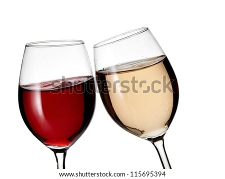 Red and white wine glasses - stock photo