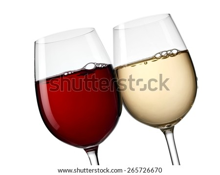 Red and white wine glasses, close up - stock photo