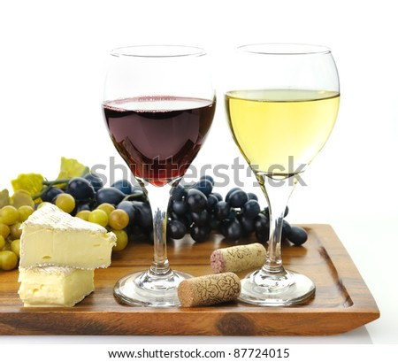 Red And White Wine Glasses with  Grape And Cheese - stock photo