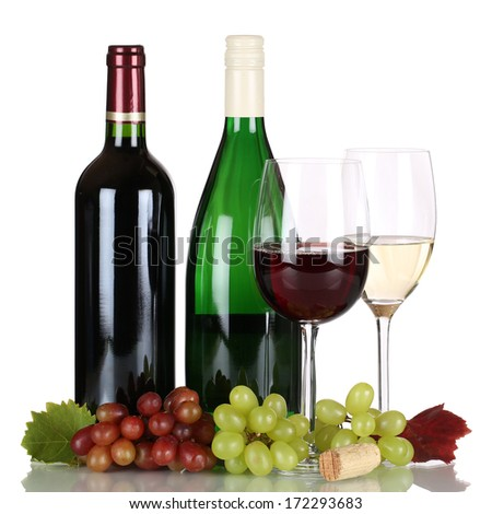 Red and white wine in bottles with grapes isolated