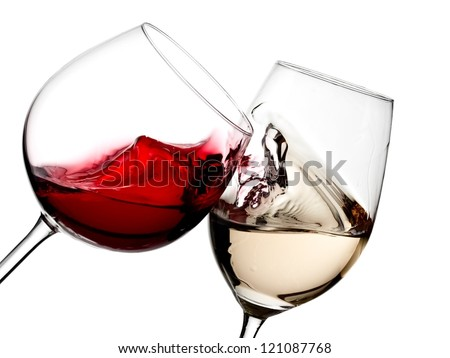 Red and white wine plash - stock photo