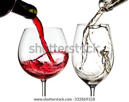 Red and white wine pouring, close up - stock photo