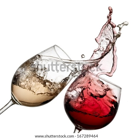 Red and white wine up - stock photo