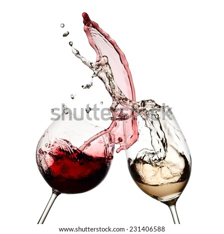 Red and white wine up together