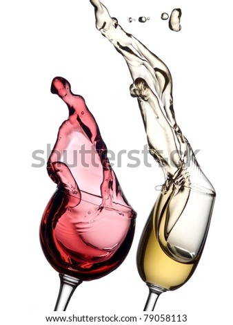 Red and white wine up with drops - stock photo
