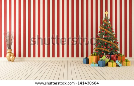 Red and white wooden room with christmas-tree and colorful gift - rendering - stock photo