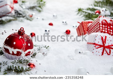Red and white xmas decoration on holiday background