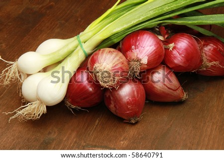 Red and white young onions - stock photo