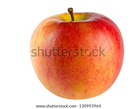 Red and yellow apple isolated on white background shadowless