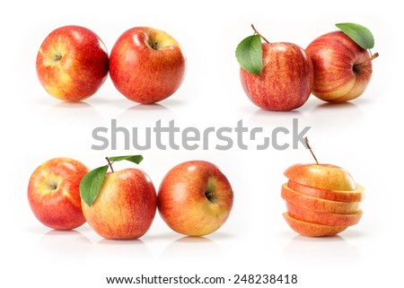 red and yellow apples fruit  isolated on white background - stock photo