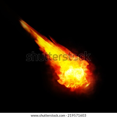 red and yellow ball of fire (fireball)  isolated on black background