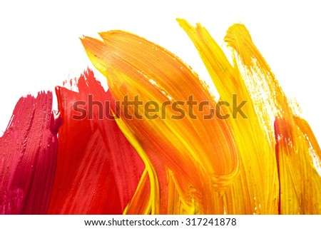 Red and yellow brush strokes on white as a background - stock photo