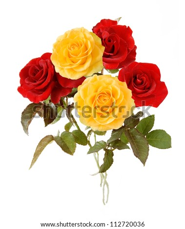 Red and yellow bunch isolated on white background