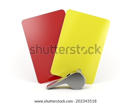 Red and yellow cards and metal whistle - stock photo