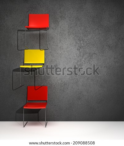 red and yellow chairs hanging on the wall in a conceptual way
