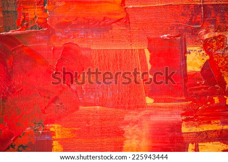 Red and yellow color oil painting texture. Abstract background  - stock photo