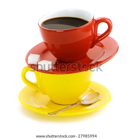 Red and yellow cups, coffee, sugar, spoon on a white background