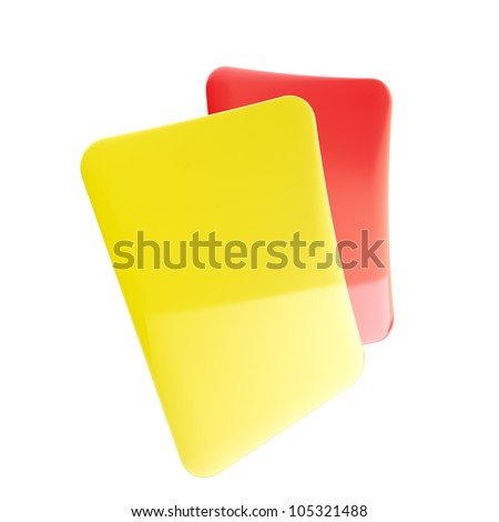Red and yellow football referee glossy penalty cards isolated on white - stock photo
