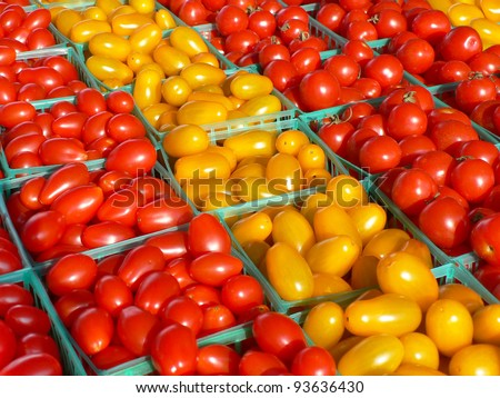 Red and yellow grape tomatoes