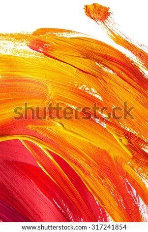 Red and yellow paint brush strokes on white as a background - stock photo