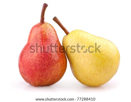 Red and yellow pears isolated on white - stock photo