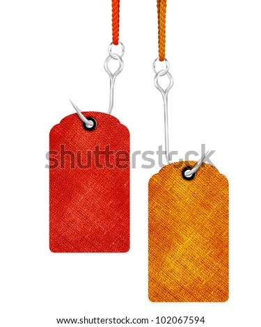 red and yellow price tags with fishing hook isolated on white background. - stock photo