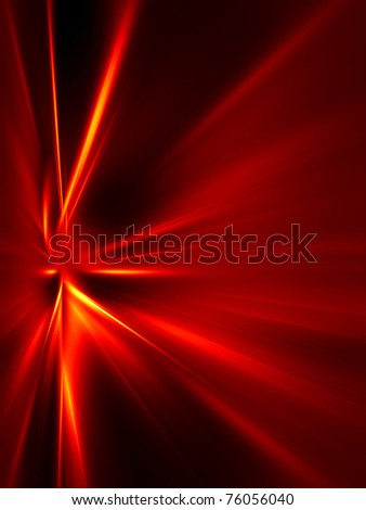 Red and yellow rays on black background. High resolution abstract image - stock photo