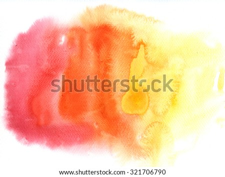 Red and yellow spots, watercolor abstract hand painted background. Autumn palette.  - stock photo