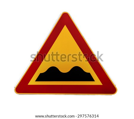 Red and yellow triangular warning road sign with a warning of a bumpy road ahead - stock photo