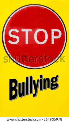 Red and yellow warning sign with a Stop Bullying concept - stock photo